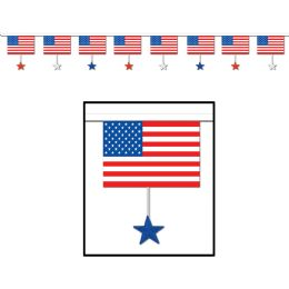 12 Units of Flags & Stars Pennant Banner all-weather; 8 flags w/star DANGLES/string