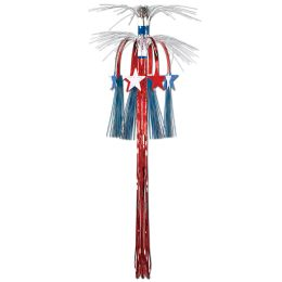 12 Units of Star Cascade Hanging Column red, white, blue - Hanging Decorations & Cut Out