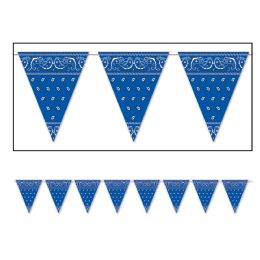 12 Units of BANDANA Pennant Banner blue; all-weather; 12 pennants/string