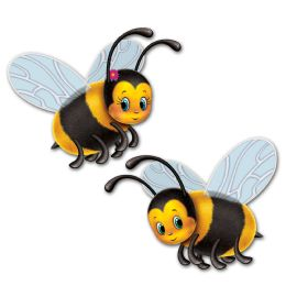 12 Units of Bumblebee Cutouts Prtd 2 Sides - Hanging Decorations & Cut Out