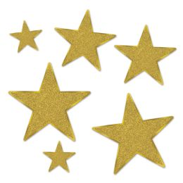 12 Units of Glittered Foil Star Cutouts gold; foil 2 sides/gltrd 1 side; 2-5 , 2-9 , 2-12  - Hanging Decorations & Cut Out