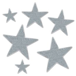 12 Units of Glittered Foil Star Cutouts silver; foil 2 sides/gltrd 1 side; 2-5 , 2-9 , 2-12  - Hanging Decorations & Cut Out