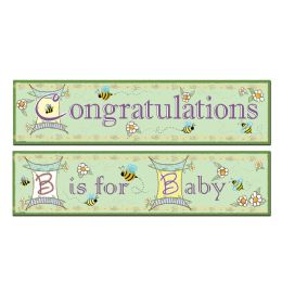 12 Units of B Is For Baby Banners asstd designs - Party Banners