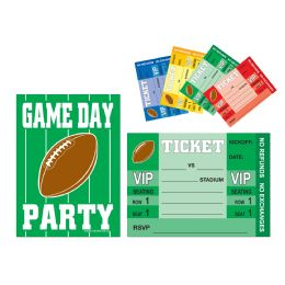 12 Units of Game Day Football Invitations envelopes included; prtd 2 sides - Invitations & Cards