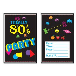 12 Units of 80's Invitations envelopes included; prtd 2 sides - Invitations & Cards
