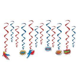 6 Units of Hero Whirls 6 whirls w/icons; 6 plain whirls - Streamers & Confetti