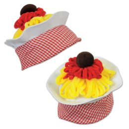 12 Units of Plush Spaghetti & Meatball Hat one size fits most - Party Hats & Tiara