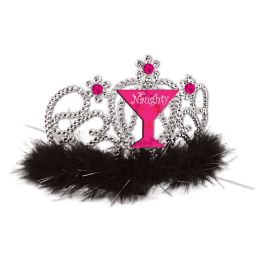 6 Units of Plastic Light-Up Naughty Girl Tiara w/faux gemstones & maribu trim; combs attached - Party Hats & Tiara