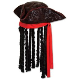 6 Units of Caribbean Pirate Hat one size fits most - Party Hats & Tiara