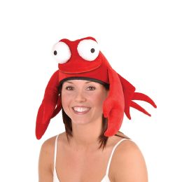 6 Units of Plush Crab Hat One Size Fits Most - Party Hats & Tiara