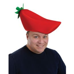 12 Units of Plush Chili Pepper Hat one size fits most - Party Hats & Tiara
