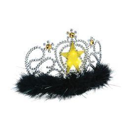 6 Units of Plastic Light-Up Star Tiara w/faux gemstones & maribu trim; combs attached - Party Hats & Tiara
