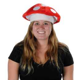 12 Units of Plush Mushroom Hat one size fits most - Party Hats & Tiara