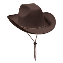 6 Units of Brown Felt Cowboy Hat one size fits most - Party Hats & Tiara