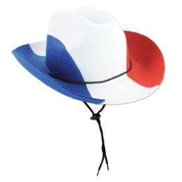 6 Units of Patriotic Felt Cowboy Hat one size fits most - Party Hats & Tiara