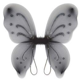 12 Units of Nylon Fairy Wings Black; Elastic Armbands - Party Novelties
