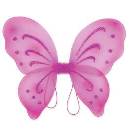 12 Units of Nylon Fairy Wings Cerise; Elastic Armbands - Party Novelties
