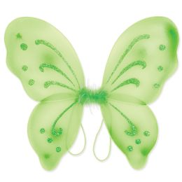 12 Units of Nylon Fairy Wings Lt Green; Elastic Armbands - Party Novelties