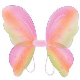 12 Units of Nylon Fairy Wings MultI-Color; Elastic Armbands - Party Novelties