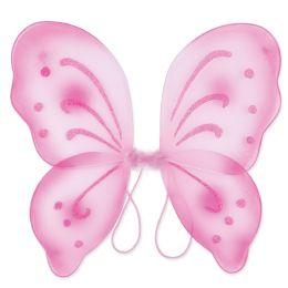 12 Units of Nylon Fairy Wings Pink; Elastic Armbands - Party Novelties
