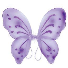 12 Units of Nylon Fairy Wings Purple; Elastic Armbands - Party Novelties