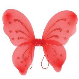 12 Units of Nylon Fairy Wings Red; Elastic Armbands - Party Novelties
