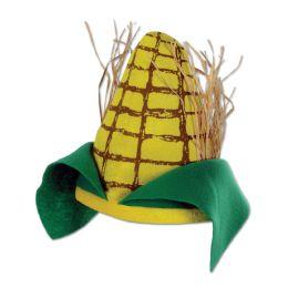 12 Units of Plush Corn Cob Hat one size fits most - Party Hats & Tiara