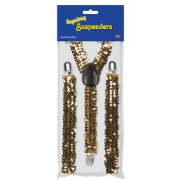 12 Units of Sequined SUSPENDERS gold; adjustable; one size fits most