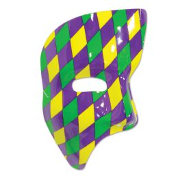 24 Units of Phantom Mask golden-yellow, green, purple harlequin design; elastic attached - Hanging Decorations & Cut Out