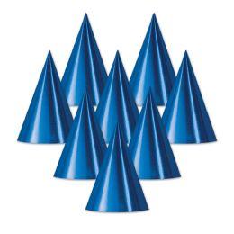 48 Units of Foil Cone Hat blue; medium head size; elastic attached - Party Hats & Tiara