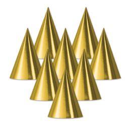 48 Units of Foil Cone Hat gold; medium head size; elastic attached - Party Hats & Tiara