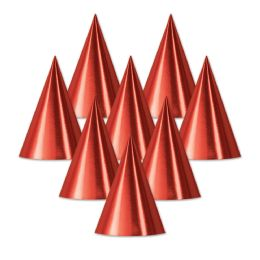 48 Units of Foil Cone Hat red; medium head size; elastic attached - Party Hats & Tiara