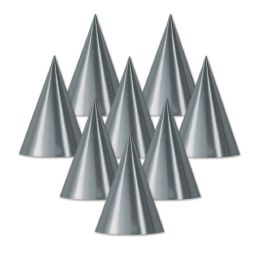 48 Units of Foil Cone Hat silver; medium head size; elastic attached - Party Hats & Tiara