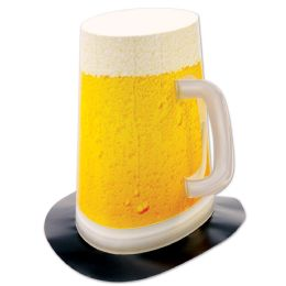 12 Units of Beer Mug Super Hi-Hat pop-out handle; one size fits most - Party Hats & Tiara