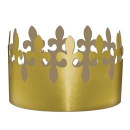 72 Units of Gold Foil Fleur De Lis Crown adjustable - Party Hats & Tiara