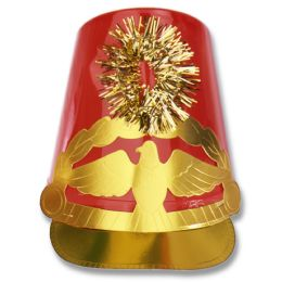 12 Units of Plastic Drum Major Hat Red; One Size Fits Most - Party Hats & Tiara