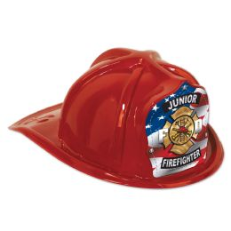 48 Units of Red Plastic Jr Firefighter Hat flag shield; medium head size; elastic attached - Party Hats & Tiara
