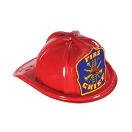 48 Units of Red Plastic Fire Chief Hat blue shield; medium head size; elastic attached - Party Hats & Tiara