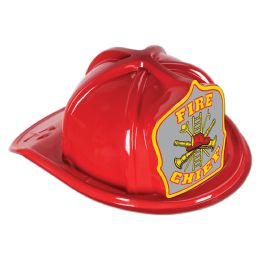 48 Units of Red Plastic Fire Chief Hat silver shield; medium head size; elastic attached - Party Hats & Tiara