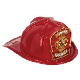 48 Units of Red Plastic Jr Firefighter Hat red shield; medium head size; elastic attached - Party Hats & Tiara