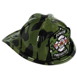 48 Units of Green Camo Plastic Jr Firefighter Hat green camo shield; medium head size; elastic attached - Party Hats & Tiara