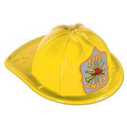 48 Units of Yellow Plastic Fire Chief Hat silver shield; medium head size; elastic attached - Party Hats & Tiara