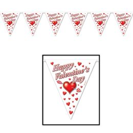 12 Units of Happy VALENTINE's Day Pennant Banner all-weather; 12 pennants/string