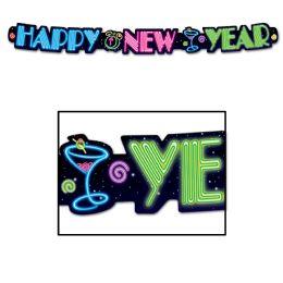12 Units of Neon Happy New Year Streamer - Streamers & Confetti