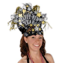 12 Units of Glittered New Year Headdress One Size Fits Most - Party Hats & Tiara