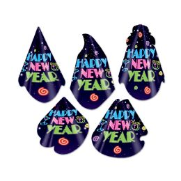 50 Units of Neon Midnight Hat Assortment One Size Fits Most; Elastic Attached - Party Hats & Tiara