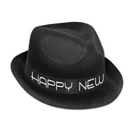 25 Units of Chairman Hat black & white; plastic-backed velour; one size fits most - Party Hats & Tiara