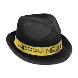 25 Units of Chairman Gold Hat black & gold; plastic-backed velour; one size fits most - Party Hats & Tiara