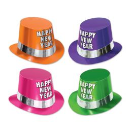 25 Units of Fluorescent Hi-Hats asstd colors; one size fits most - Party Hats & Tiara