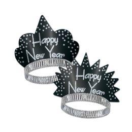 50 Units of Sparkling Silver Tiaras black & silver - Party Hats & Tiara
